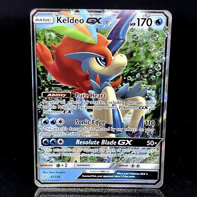 Pokemon Keldeo Gx Unified Minds 47//236 Half Art Holo Mint