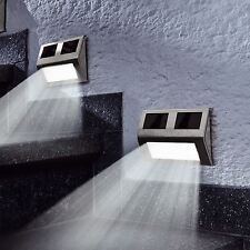 4 x Solar LED Wall Step Lights Stair Fence Outdoor Decking Garden Pathway Lamp