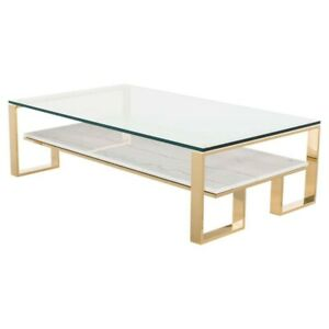 Details About 53 L Coffee Table White Veined Marble Shelf Gl Top Polished Stainless Steel