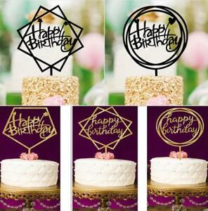 Image Is Loading Happy Birthday Cake Topper Acrylic Elegant Party Decorations