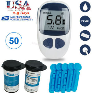 Blood-Glucose-Starter-Kit-Glucometer-Sugar-Meter-Monitor-Diabetes-50-Test-Strips