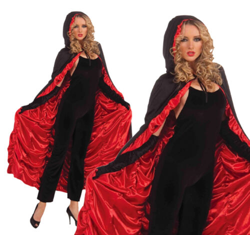 Ladies Black /& Red Coffin Cape Halloween Fancy Dress Accessory One Size Fits All