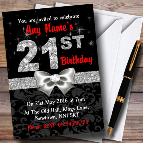 Red Black Silver Diamond 21St Birthday Party Personalised Invitations