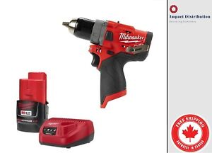 New-Milwaukee-2504-21-M12-GEN-II-FUEL-Brushless-1-2-034-Hammer-Drill-Driver-Kit
