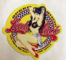 RAT ROD HOT ROD STREET ROD  DECAL STICKER      CHOPPER  BOBBER  YELLOW LADY LUCK
