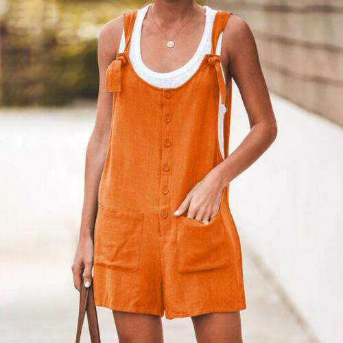 Women Casual Button Pocket Jumsuit Linen Vintage Shift Spaghetti-Strap Rompers D