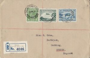 APH1009-Australia-1932-Registered-surface-mail-cover-to-Surrey-UK-Bears-1d-Gr