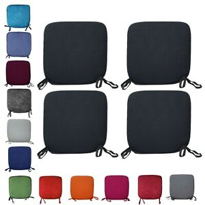 4 LUXURY REMOVABLE CHAIR SEAT PAD HOME DINING ROOM OFFICE GARDEN PATIO 38x38cm
