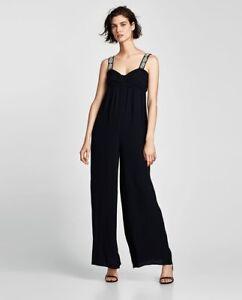 Faux Nwt With Pearls Black Women Jumpsuit Zara S Size Strappy Xq6vwzT