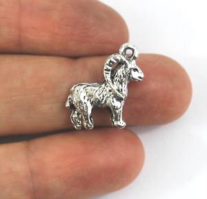 Antique Silver Tibetan Metal CAPRICORN RAM GOAT Charms Pendant Beads Crafts Card