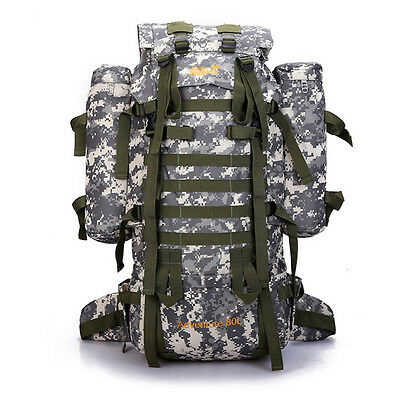 80L Sport Backpacks Mens Travel Hiking Bag Camouflage Camping Packs Rucksack NEW