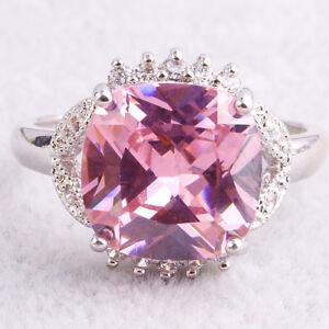 Marquise Cut Pink Tourmaline /& White Topaz Gemstones Silver Ring Size 6 7 8 9 10