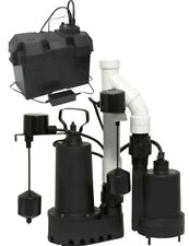 12 Hp Primary Battery Backup Sump Pump Set Cast Iron Alarm Basement Ac Dc Kit