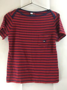 70086271d Image is loading VINTAGE-90s-Tommy-Hilfiger-Red-Striped-Embroidered-Tee-
