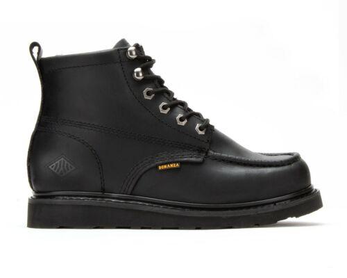 "Men/'s Work Boots Black 6/"" Moc Toe Oiled Leather WP BONANZA 630 Size 6-13 D, M"
