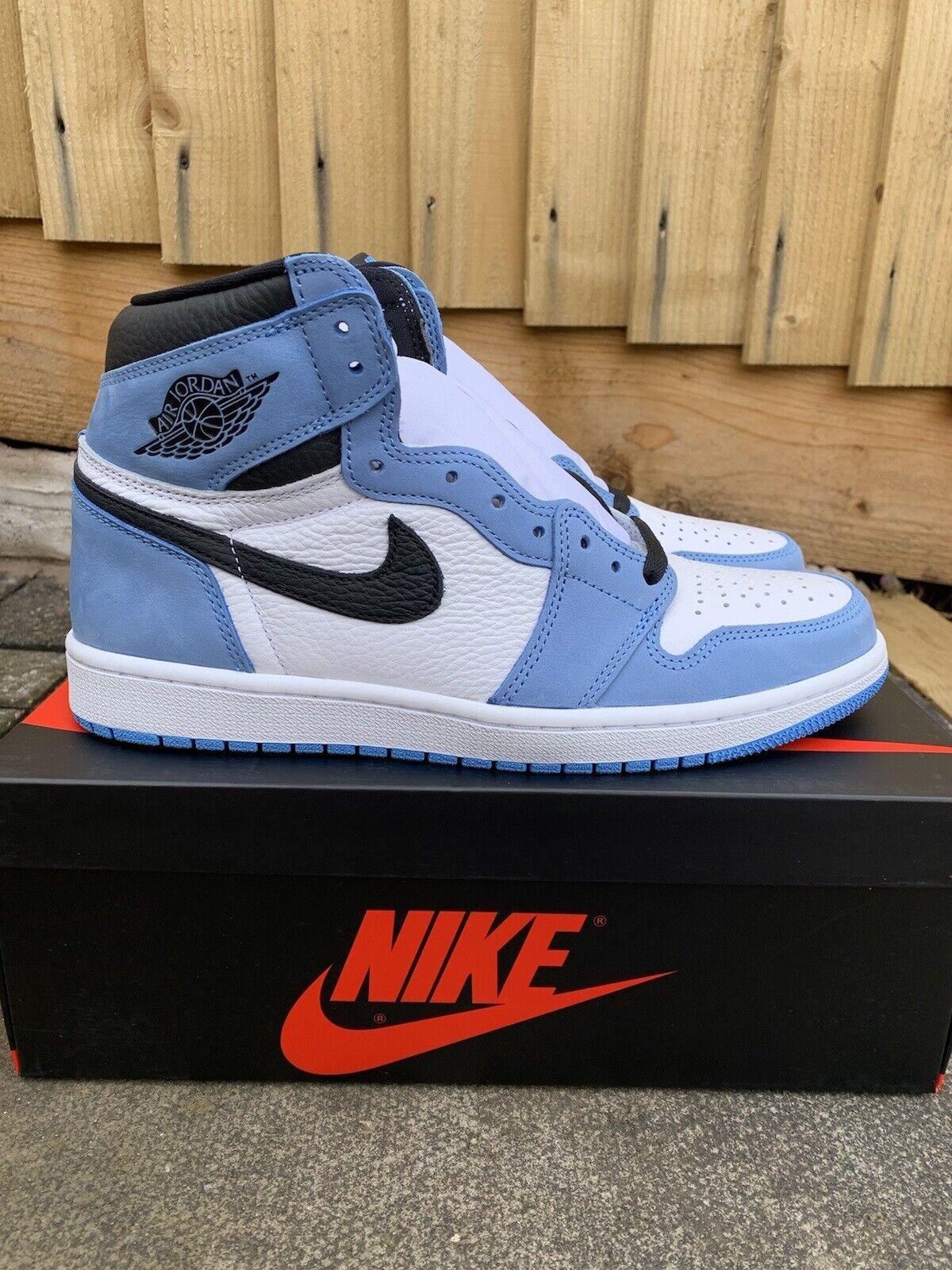 Jordan 1 Retro High White University Blue Black UK 8.5 Brand New