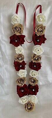 Indian Bollywood Artificial Flowers wedding garlands Red Ivory And Gold asian