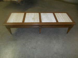 Details About Mid Century Modern X Long Coffee Table W Travertine Marble  Inserts Italy