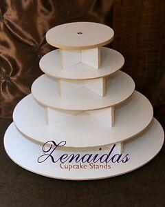 ROUND CUPCAKE TOWER 5 TIER WHITE MELAMINE WOOD WEDDING CUPCAKE STAND