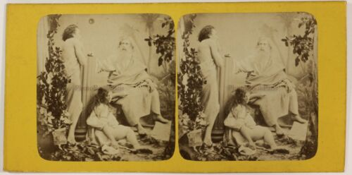 Photo Stereo Artistic Pictorial Allegory France T3n32 Vintage Albumin c1870