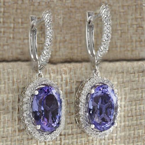 925 Argent Oreille Goujon Saphir Opale Dangle Boucles d/'oreilles pendantes Femmes Fille Fête Cadeau