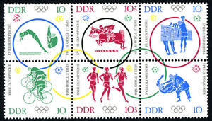 Germany DDR/GDR 714a, Block/6, MNH. Olympics,Tokyo. Diving,Volleyball,Judo, 1964