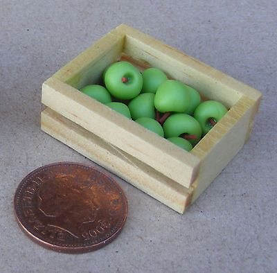 WOODEN FRUIT CRATE APPLES DOLLHOUSE MINIATURES 1:12 SCALE