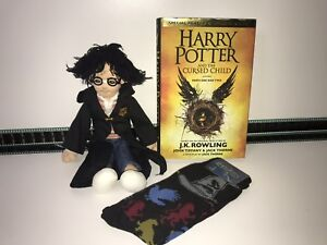"Warner Brothers Harry Potter 12"" Plush Toy Socks & Cursed Child Book Bundle"