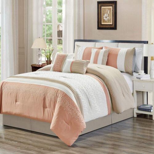 Elegant Blush Pink Embossed Geometric 7 pcs Cal King Queen Comforter Set