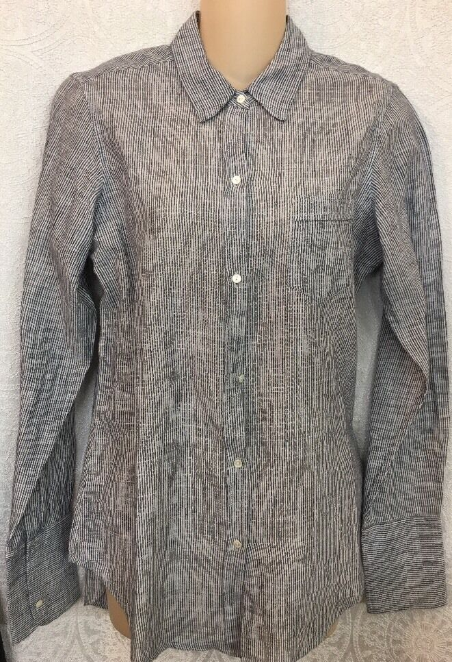 Nili Lotan Shirt Blau And Weiß Striped Cotton Button-Down Größe Small
