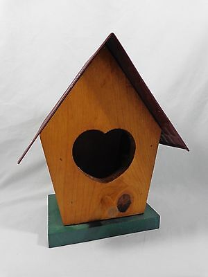 "DECORATIVE BIRDHOUSE Heart Shaped Holes 9"" Brown Wood with RED TIN ROOF"