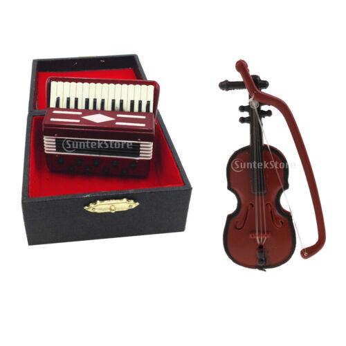 1//12 Puppenhaus Miniatur Musikinstrument Violine Akkordeon Modell Zubehör