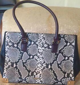 Details about ALDO Black &white faux snake skin shoulder bag purse With 2 Division & Pockets