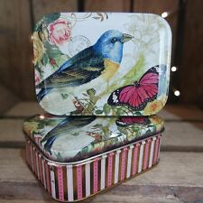 Retro Vintage Storage Tin Nostalgia Bird Butterfly Rose Coin Trinket Pill Box