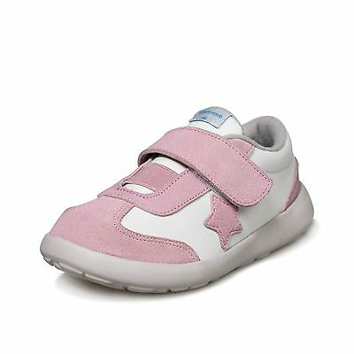 Girls's Infant Toddler Pink&White Real Leather&Suede Memory Foam Sole Trainers