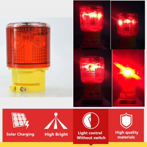 RED Forklift Solar Power Car Hazard Emergency Flashing Warning Beacon Light