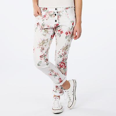 LINDSAY Italy Baggy Boyfriend Jeans Hose Stretch SUMMER FLOWER WHITE weiß