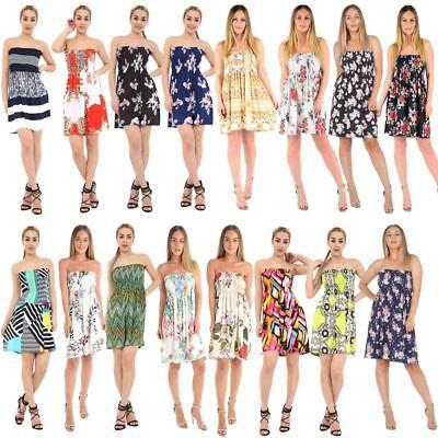 Ladies Women/'s Sheering Summer Dress Bandeau Boobtube Floral Top Mini Dress 8-18