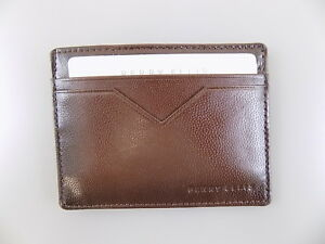 01f1752b45b8 Details about Perry Ellis $55 Brown CARD CASE MEN Leather Wallet CARD CASE  5 CREDIT CARDS Y25