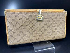 Auth-GUCCI-GG-PVC-Leather-Long-wallet-Purse-Old-Gucci-Y-1004