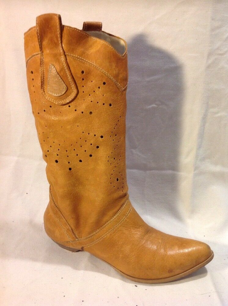 Kristel Brown Mid Calf Leather Boots Size 36