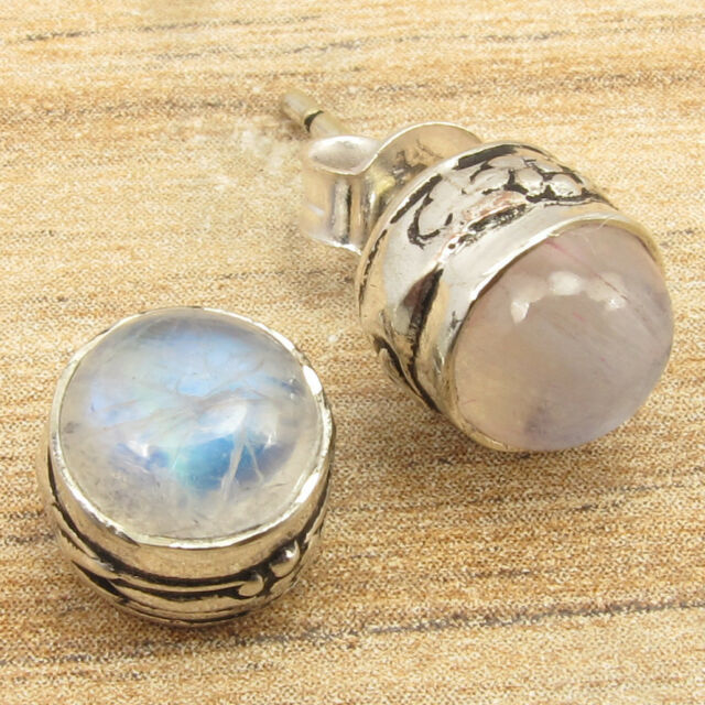 Silver Plated Over Solid Copper Jewelry ! RAINBOW MOONSTONE ART Stud Earrings