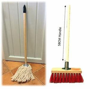 Traditional-Handmade-Childrens-Cleaning-Set-Wooden-Broom-Brush-amp-Mop