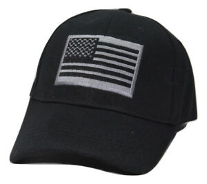 USA American Flag Stars /& Stripes Black Tonal Adjustable Cap Hat