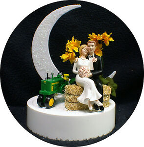 Sunflower Country Western John DEERE Tractor Wedding Cake Topper ...