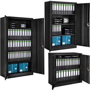 Armoire de bureau metallique meuble de rangement armoire-fichier 2 portes noir   eBay