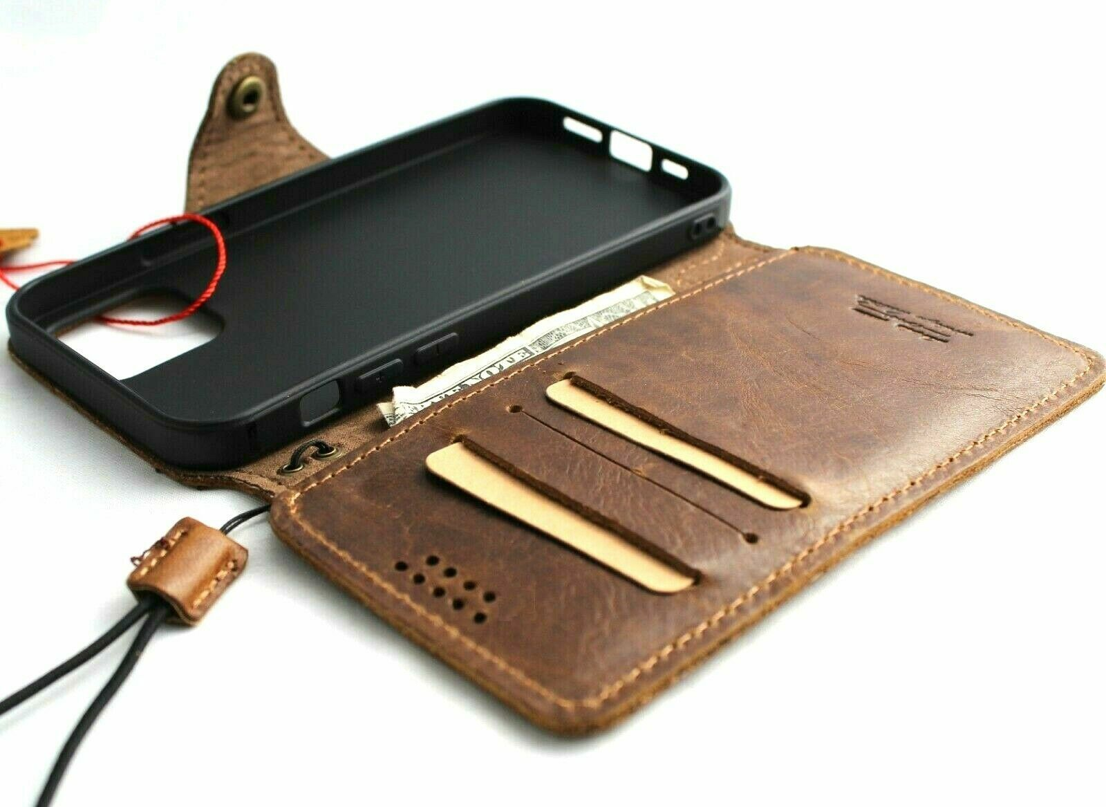 Image 11 - Genuine Tan Leather Case for Apple iPhone 11 Pro Max Wallet Cover Slim Design