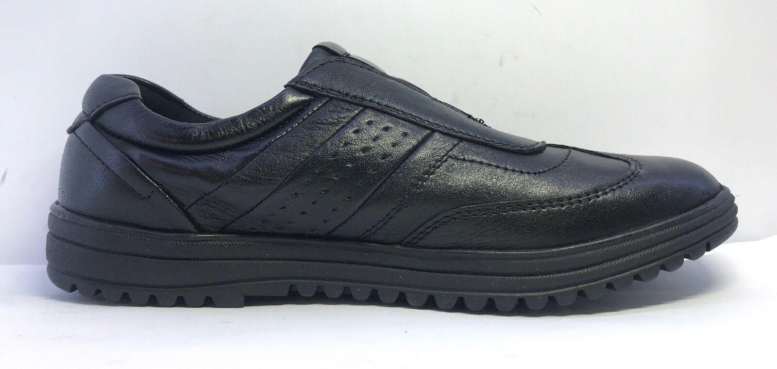 Pegasus Black Leather Slip On shoes Unisex Uk Size 6