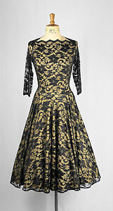 Baylis-amp-Knight-Black-Lace-Champagne-Lined-CIRCLe-Skirt-Slash-Boat-Neck-Dress