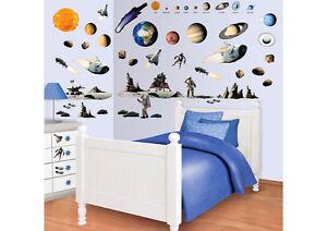 Wandtattoo Wandsticker Kinderzimmer Weltraum Planeten Mondlandung Mond Sonne Neu Ebay